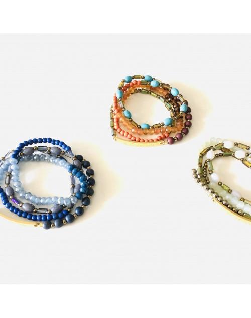 """Bracelet élastique 4 rangs """"LA VIE EST BELLE"""""""